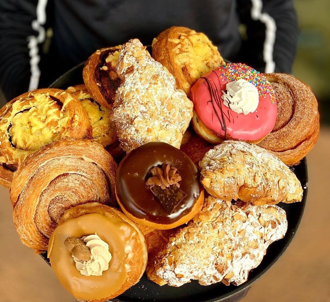 plate of assorted donuts